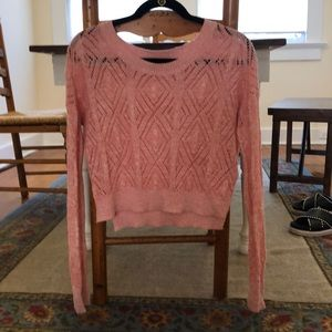 Pink knit cropper sweater urban outfitters